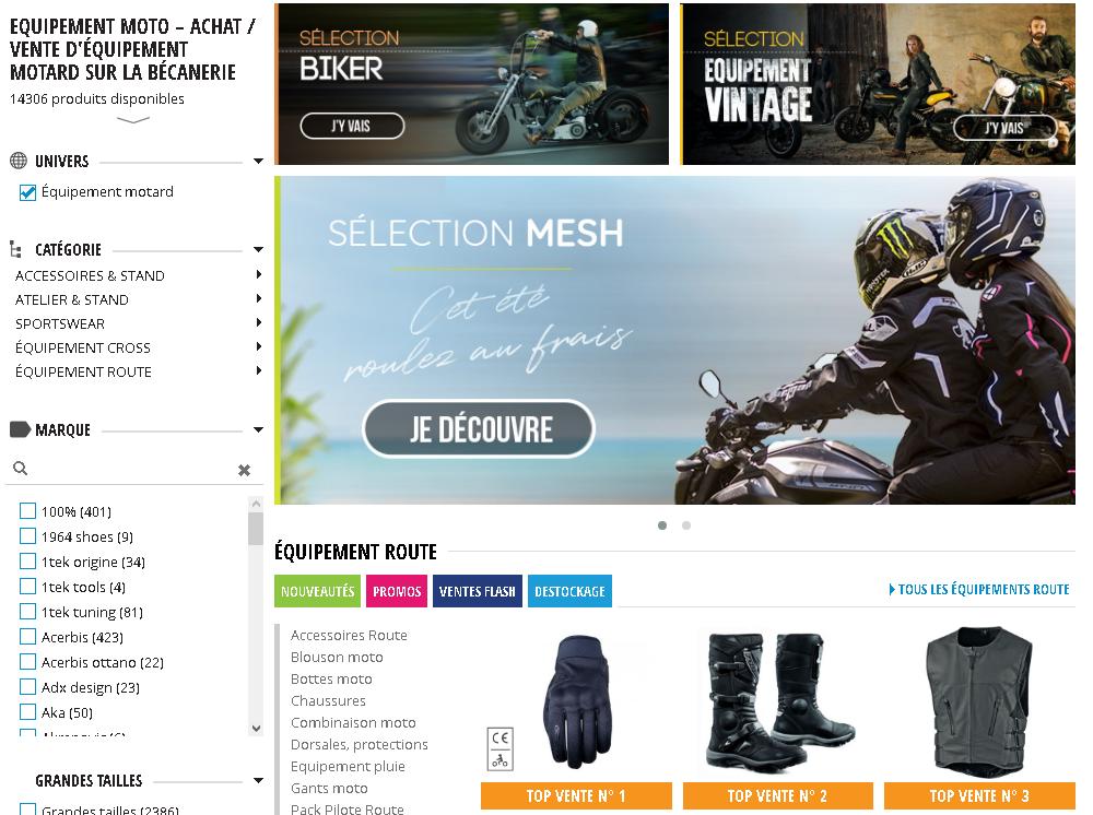 Page Equipement Motard sur le site la becanerie